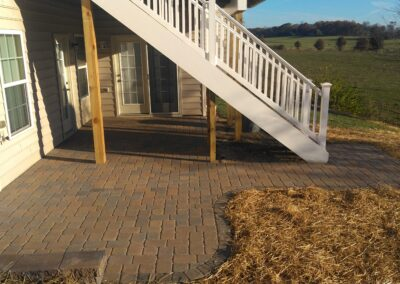 London Cobble Pavers stonework patio by Frederick Landscaping Maryland