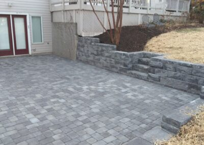 Hardscaped walkout patio by Frederick Landscaping Maryland