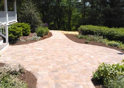 Beautiful patio and walkway paved with Dubblin Mod pavers