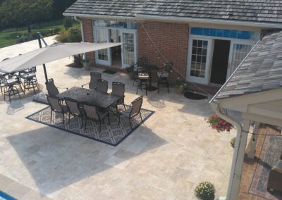 Travertine paver and fire place
